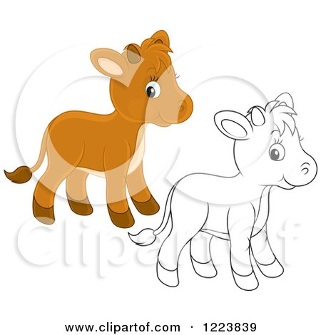 Clipart of Outlined and Colored Cute Baby Calf Cows - Royalty Free Vector Illustration by Alex Bannykh
