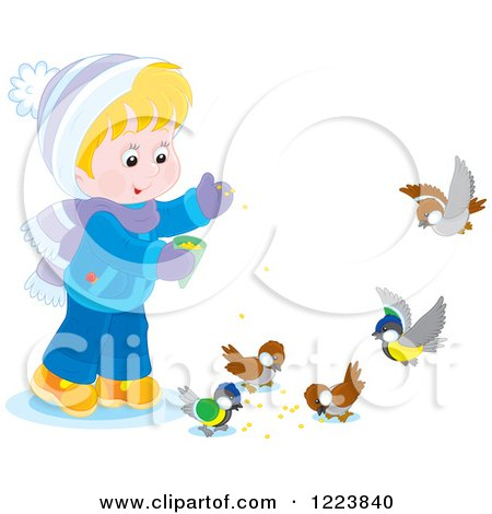 Clipart of a Happy Boy Feeding Birds in the Winter - Royalty Free Vector Illustration by Alex Bannykh