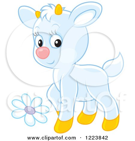 Clipart of a Cute White Baby Goat with a Flower - Royalty Free Vector Illustration by Alex Bannykh