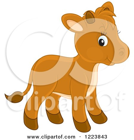 Clipart of a Cute Baby Calf Cow - Royalty Free Vector Illustration by Alex Bannykh