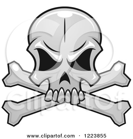 Clipart of a Grayscale Monster Skull and Crossbones - Royalty Free Vector Illustration by Vector Tradition SM