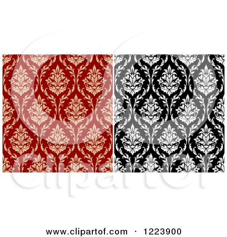 Clipart of Seamless Patterns of Damask in Black and White and Tan and Red - Royalty Free Vector Illustration by Vector Tradition SM