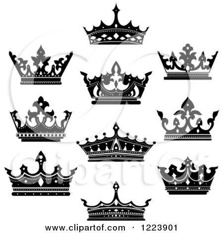 Clipart Of Black And White Crowns 5 Royalty Free Vector