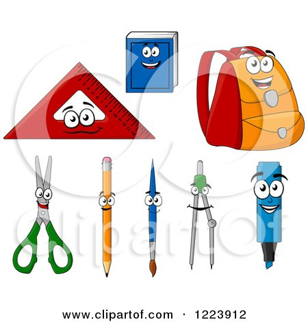 Clipart of School Supply Characters - Royalty Free Vector Illustration by Vector Tradition SM