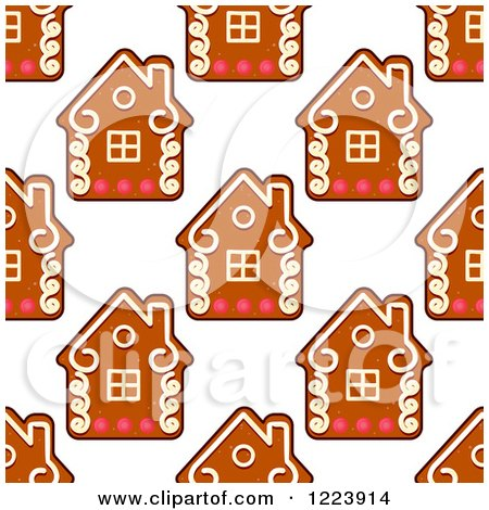 Clipart of a Seamless Pattern Background of Christmas Gingerbread House Cookies - Royalty Free Vector Illustration by Vector Tradition SM