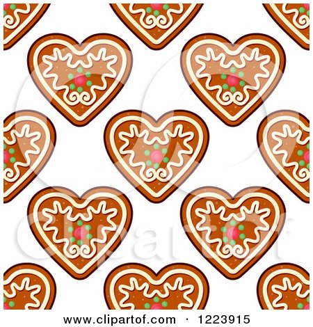 Clipart of a Seamless Pattern Background of Christmas Gingerbread Heart Cookies - Royalty Free Vector Illustration by Vector Tradition SM