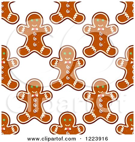 Clipart of a Seamless Pattern Background of Christmas Gingerbread Man Cookies - Royalty Free Vector Illustration by Vector Tradition SM
