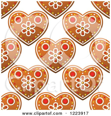 Clipart of a Seamless Pattern Background of Christmas Gingerbread Heart Cookies 2 - Royalty Free Vector Illustration by Vector Tradition SM
