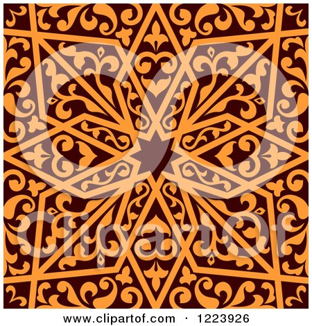 Clipart of a Seamless Brown and Orange Arabic or Islamic Design 3 - Royalty Free Vector Illustration by Vector Tradition SM