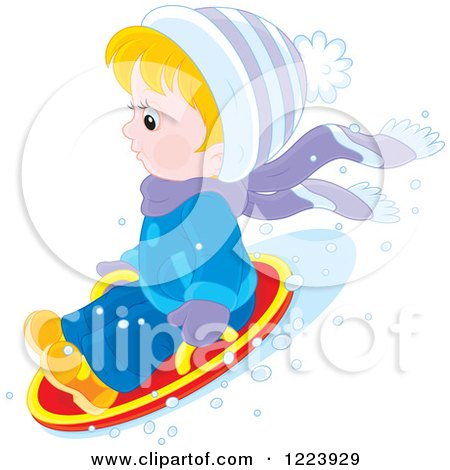 Clipart of a Winter Boy Tubing in the Snow - Royalty Free Vector Illustration by Alex Bannykh
