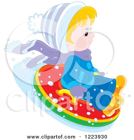 Clipart of a Winter Boy Tubing in the Snow 2 - Royalty Free Vector Illustration by Alex Bannykh