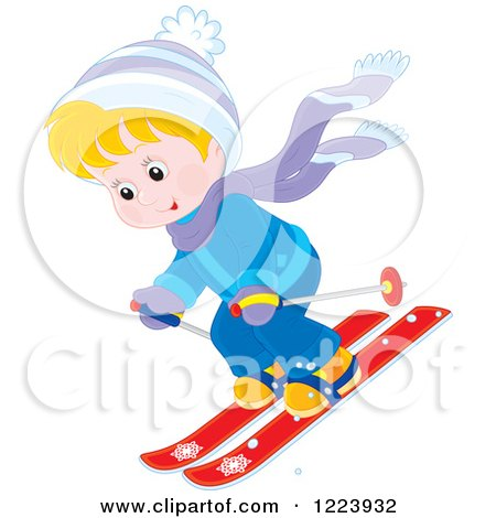 Clipart of a Happy Winter Boy Skiing down Hill - Royalty Free Vector Illustration by Alex Bannykh