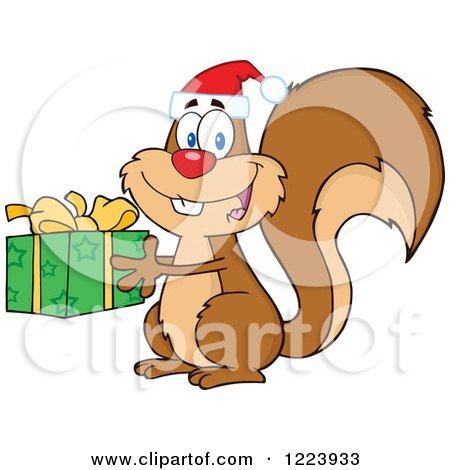 Clipart of a Cute Christmas Squirrel Holding a Present - Royalty Free Vector Illustration by Hit Toon