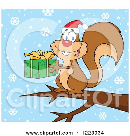 Clipart of a Cute Christmas Squirrel Holding a Present on a Branch in the Snow - Royalty Free Vector Illustration by Hit Toon