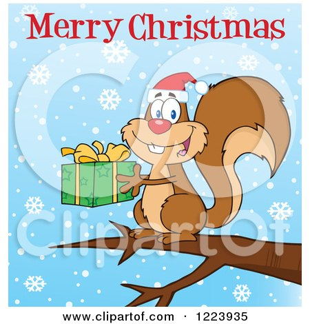 Clipart of a Merry Christmas Greeting over a Squirrel Holding a Present and Snowflakes - Royalty Free Vector Illustration by Hit Toon