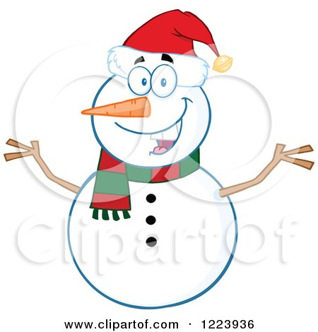 Clipart of a Cheerful Christmas Snowman - Royalty Free Vector Illustration by Hit Toon
