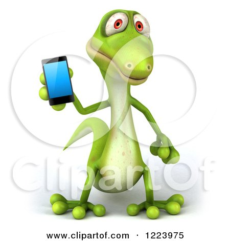 Clipart of a 3d Green Gecko Holding a Smart Phone - Royalty Free Illustration by Julos