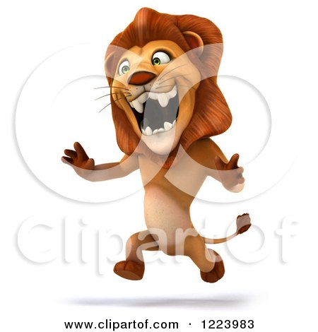 Clipart of a 3d Lion Running - Royalty Free Illustration by Julos