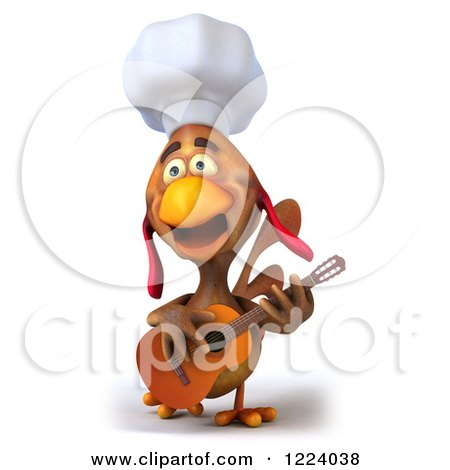 3d Chef Chicken Playing a Guitar 4 Posters, Art Prints