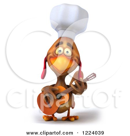 3d Chef Chicken Playing a Guitar 5 Posters, Art Prints