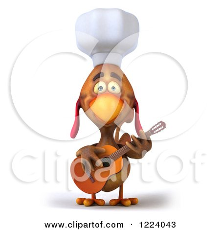 3d Chef Chicken Playing a Guitar 2 Posters, Art Prints