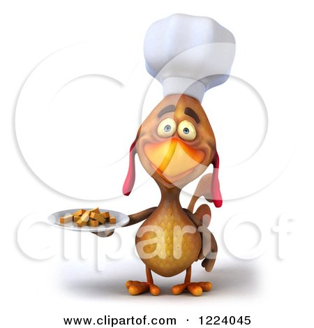 3d Chef Chicken Holding a Plate of French Fries Posters, Art Prints
