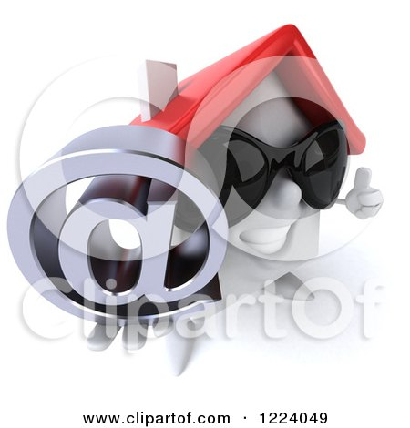 Clipart of a 3d White House Wearing Sunglasses and Holding a Thumb up and an Arobase - Royalty Free Vector Illustration by Julos