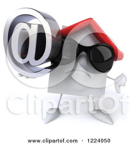 Clipart of a 3d White House Wearing Sunglasses and Holding a Thumb down and an Arobase - Royalty Free Vector Illustration by Julos