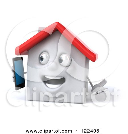 Clipart of a 3d White House Excitedly Talking on a Cell Phone - Royalty Free Vector Illustration by Julos
