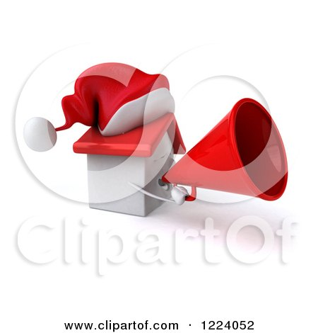 Clipart of a 3d Christmas White House Using a Megaphone - Royalty Free Vector Illustration by Julos