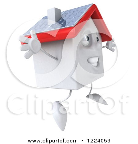 Clipart of a 3d Jumping White House with a Solar Roof - Royalty Free Vector Illustration by Julos