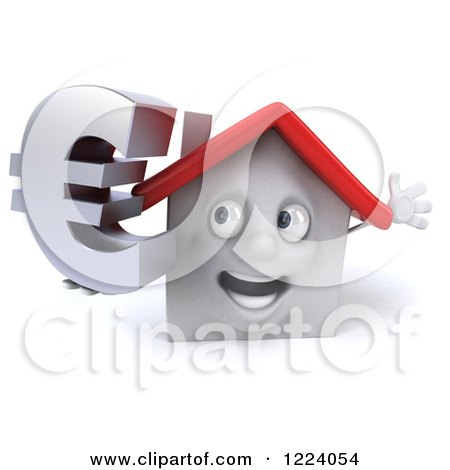 Clipart of a 3d White House Holding a Euro Symbol - Royalty Free Vector Illustration by Julos