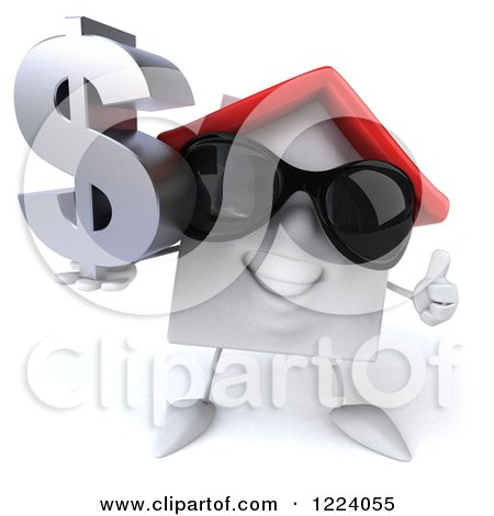 Clipart of a 3d White House Wearing Sunglasses, Holidng a Thumb up and a Dollar Symbol 2 - Royalty Free Vector Illustration by Julos