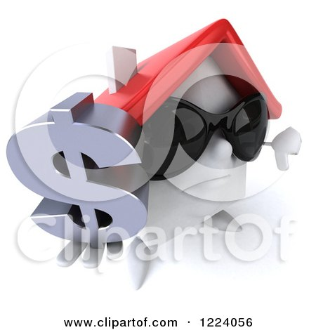 Clipart of a 3d White House Wearing Sunglasses, Holidng a Thumb down and a Dollar Symbol - Royalty Free Vector Illustration by Julos
