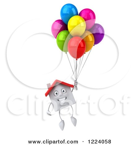 Clipart of a 3d White House Floating with Colorful Party Balloons - Royalty Free Vector Illustration by Julos