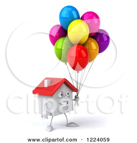 Clipart of a 3d White House with Colorful Party Balloons - Royalty Free Vector Illustration by Julos