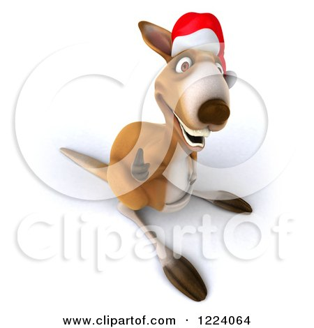 Clipart of a 3d Christmas Kangaroo Holding a Thumb up ...