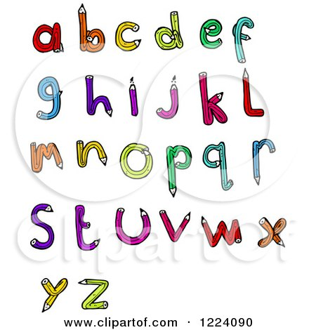 Cartoon of Colorful Pencil Letters - Royalty Free Vector Illustration by lineartestpilot