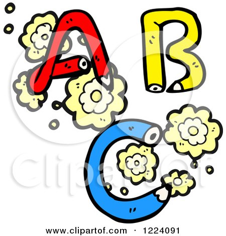 Cartoon of Pencil ABC and Flowers - Royalty Free Vector Illustration by lineartestpilot