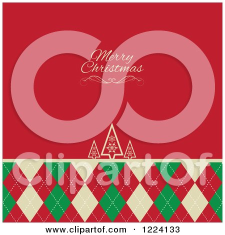 Clipart of a Merry Christmas Greeting on Red over Retro Trees and Argyle - Royalty Free Vector Illustration by KJ Pargeter