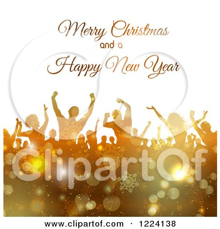 Clipart of a Merry Christmas and a Happy New Year Greeting over Dancers in Golden Snowflakes - Royalty Free Vector Illustration by KJ Pargeter