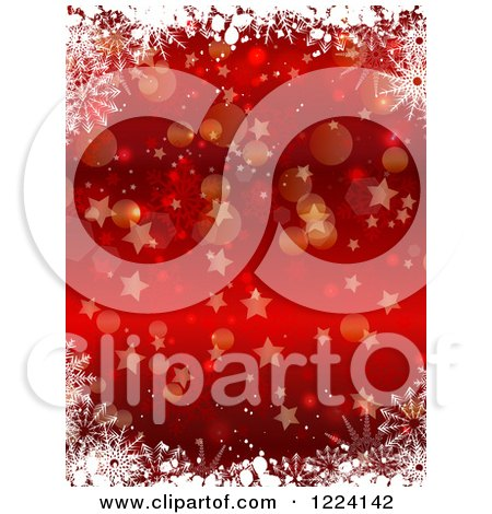 Clipart of a Red Christmas Background of Snowflakes Bokeh and Stars - Royalty Free Vector Illustration by KJ Pargeter