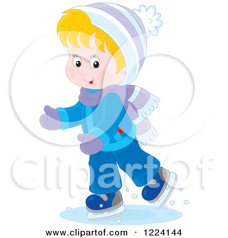 Clipart of a Blond Winter Boy Ice Skating - Royalty Free Vector Illustration by Alex Bannykh
