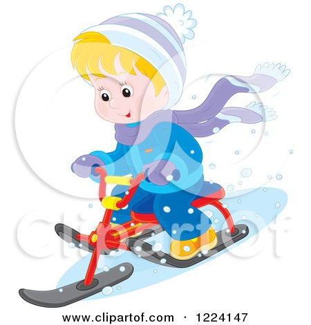 Clipart of a Blond Winter Boy on a Sled Bike - Royalty Free Vector Illustration by Alex Bannykh