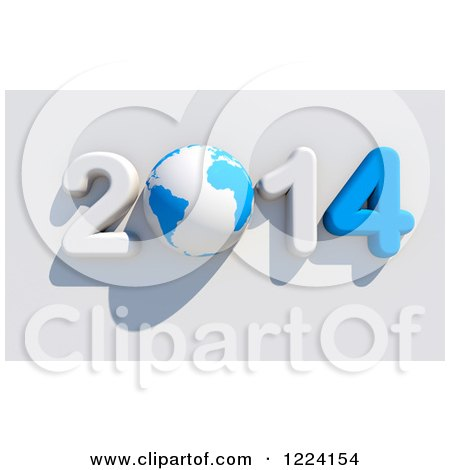 Clipart of a 3d Blue and White Year 2014 with a Globe As the Zero - Royalty Free Illustration by chrisroll