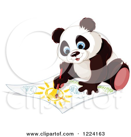 Clipart of a Cute Panda Painting a Landscape - Royalty Free Vector Illustration by Pushkin