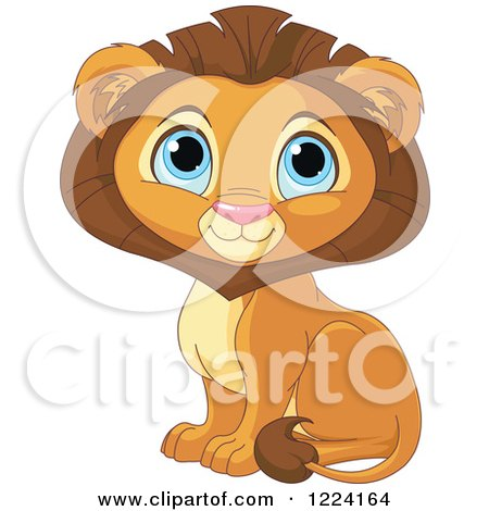 Clipart of a Cute Sitting Male Lion with Big Blue Eyes - Royalty Free Vector Illustration by Pushkin