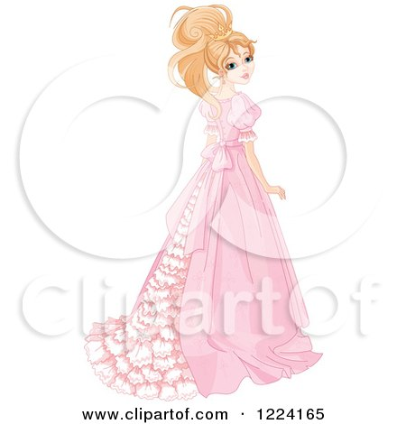 Clipart of a Beautiful Blond Princess Looking Back and Wearing a Long Gown - Royalty Free Vector Illustration by Pushkin
