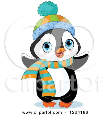Clipart of a Cute Baby Penguin with a Winter Hat and Scarf - Royalty Free Vector Illustration by Pushkin