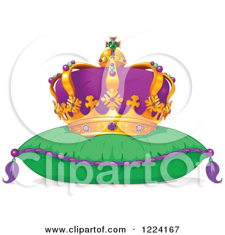 Clipart of a Mardi Gras Crown on a Pillow - Royalty Free Vector Illustration by Pushkin